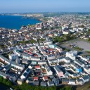 New housing development at Tregunnel Hill near Newquay / Aerial view