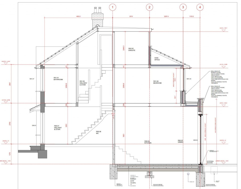 PRIVATE RESIDENCE - EAST LONDON / Long section through existing and large proposed extension