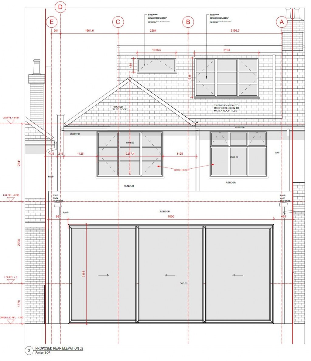 PRIVATE RESIDENCE - EAST LONDON / Rear elevation drawing of extension