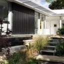 The Pavilion Eco House / external steps to garden