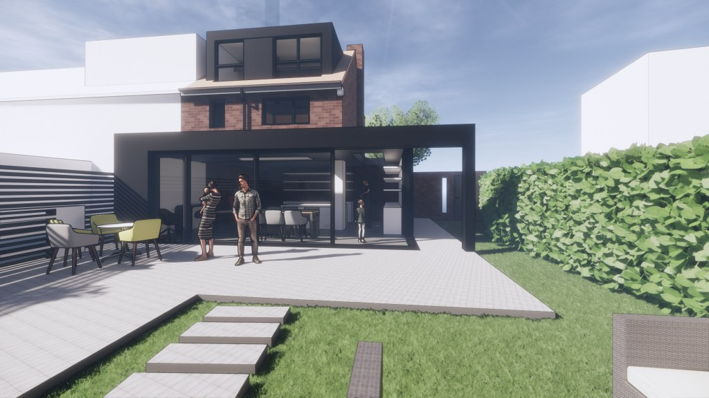 Modern House Extension and Alterations / Perspective View 03