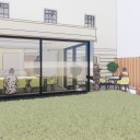 Single storey house extension / Perspective View 01