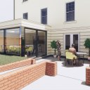 Single storey house extension / Perspective View 02