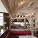 The Plough, Central Oxford / Detail of upstairs restaurant booths showing bespoke joinery and custom made banquette seating