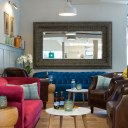 The Oxford Wine Cafe, Jericho / Back bar sofa area, with large mirror to make the room feel more spacious