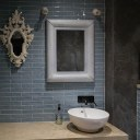 ThirtyEight, Summertown Oxford / Disabled bathroom with bespoke concrete worktop and dark polished plaster walls