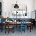 Dehavilland Studios, East London / Dining area with gallery behind