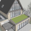 House remodelling and refurb / Design model rear view, green roof